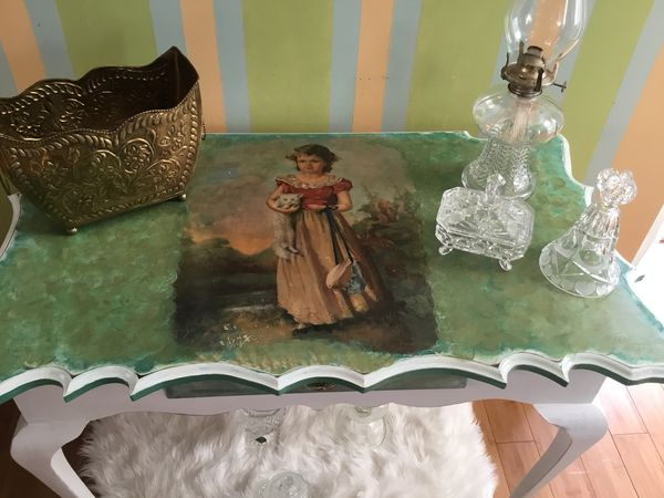 Antique goat feet table, hand painted in the decoupage technique.. Beautiful!