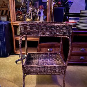 Wicker side table 30 tall 21 1/2 wide 16 Deep for Sale in San Diego, CA