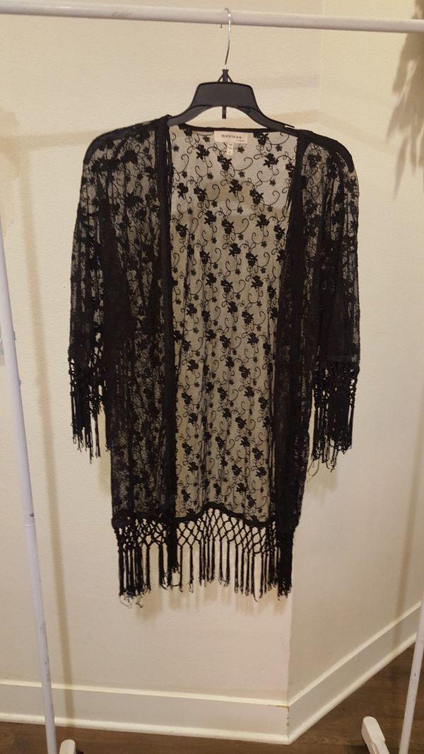 Monteau Los Angeles open front fringe trim sheer lace kimono