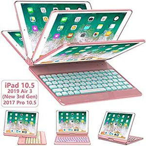 iPad Pro 10.5 Keyboard Case 2017/ iPad Air 3 Case with Keyboard 10.5 2019-360 Rotate 7 Color Backlit Wireless Keyboard Rose Gold for Sale in Hawthorne, CA
