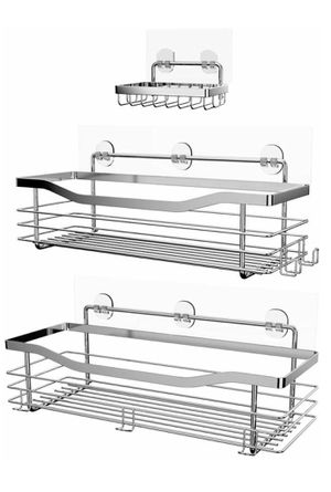 Shower Caddy Basket Soap Dish Holder Shelf Bathroom Organizer Shelf Kitchen Storage Rack Wall Mounted Adhesive No Drilling SUS304 Stainless Steel for Sale in Los Angeles, CA