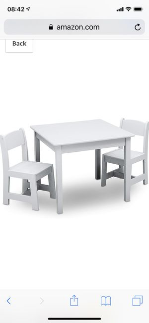 Delta Children MySize Kids Wood Chair Set and Table (2 Chairs Included), Bianca White for Sale in Davenport, FL