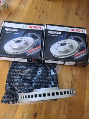 2 Bosch Quietcast Coated Premium Rear Disc Brake Rotors Part# 40011483 for Sale in Seaford, NY