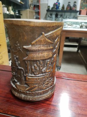 Chinese wooden brush pot for Sale in Los Angeles, CA