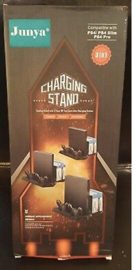Junya Vertical Stand for PS4/PS4 Slim/PS4 pro - Dual Controllers Charging Slots for Sale in Dallas, TX