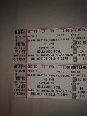 """THE WHO"" MOVING ON! Concert at Hollywood bowl oct 24 for Sale in Pomona, CA"