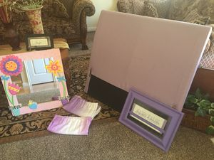 Girls purple head board curtains mirror and frame for Sale in Payson, UT