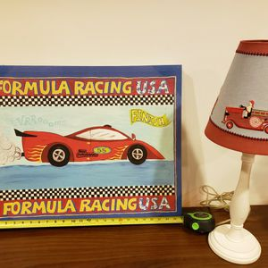 Race Car Frame Picture And Fire truck Lamp for Sale in Bethesda, MD