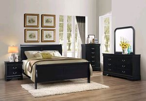 New bedroom set Black finish for Sale in Puyallup, WA
