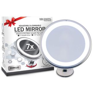 Wireless 7x Magnification LED Lighted Dimmable Warm Light Suction-Mirror Makeup Vanity, White for Sale in Seattle, WA
