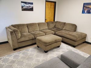 Brown Sectional Couch with Ottoman for Sale in Denver, CO