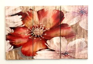 3 piece red flower canvas art for living room bedroom lobby wall decor for Sale in Seattle, WA