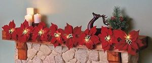 Holiday Christmas Lighted Red Burlap Poinsettia Garland NEW in BOX! for Sale in Spring Hill, FL