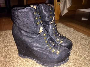 Jeffrey Campbell Black Wedge Combat Boots for Sale in Tampa, FL