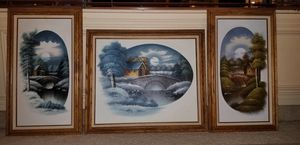 Framed set of three oil on canvases signed NATHAN for Sale in Seagoville, TX
