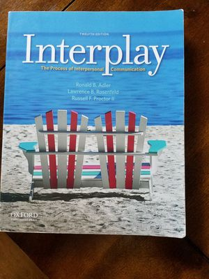 Interplay the process of interpersonal communication Twelfth Edition for Sale in Vista, CA