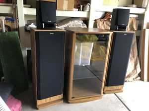 Sony entertainment cabinet with two large speakers and two small. ones for Sale in Scottsdale, AZ