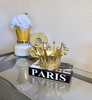 Paris wooden storage book & gold candle holder crown for Sale in Riverside, CA