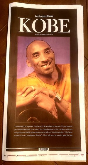 2/25/20 LA Times Newspaper Kobe Bryant Memorial Celebration Service w/ Special 24 Page Tribute Edition Lakers for Sale in Murrieta, CA