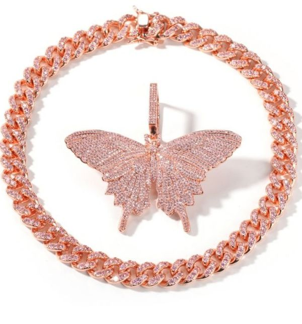 "Helloice Pink Butterfly Pendant with 8mm 20"" Cuban Link Chain Set"