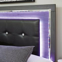 Lodanna Gray Queen LED Panel Bed 👉$39 DOWN payment only 100 days same as cash 👉Delivery, Montly Payment and online shopping available 👉 Please As for Sale in Greenbelt,  MD