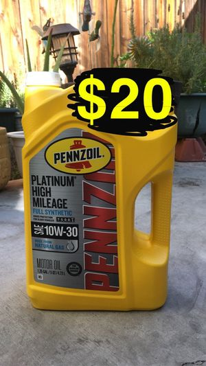 Pennzoil platinum high mileage full synthetic 10-30 and 0-20 motor oil for Sale in Riverside, CA