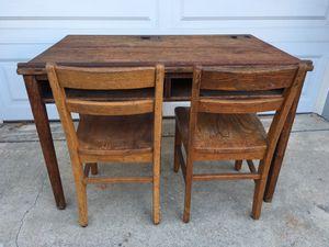 Antique children's oak school desk with two chairs for Sale in La Costa, CA