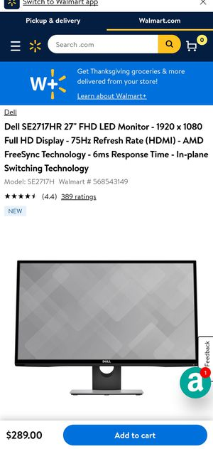 "Dell SE2717HR 27"" FHD LED Monitor - 1920 x 1080 Full HD Display - 75Hz Refresh Rate (HDMI) - AMD FreeSync Technology - 6ms Response Time - In-plane S for Sale in Glendale, CA"