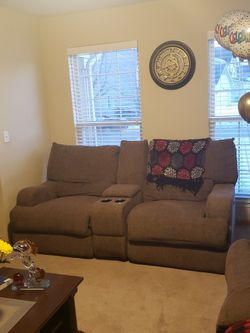 2 Piece Power Reclining Sofa and Loveseat Set (Brown Fabric) for Sale in Plainfield, IL