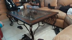 Leather and glass center table for Sale in Las Vegas, NV