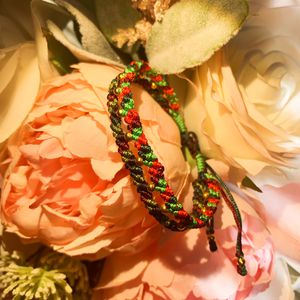 Hand Braided Christmas Bracelet Red & Green Old Beads Customize Made In USA for Sale in Bloomington, IN