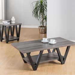 NEW, 2 pc Coffee table and End Table Distress Grey, SKU#TC151343. for Sale in Huntington Beach,  CA