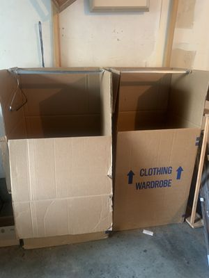 FREE: 3 CLOTHING WARDROBES; 2 CARDBOARD AND 1 VINYL for Sale in Carmichael, CA