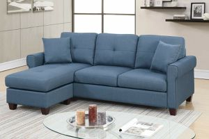 BLUE POLYFIBER LINEN REVERSIBLE SECTIONAL SOFA CHAISE COUCH ACCENT PILLOWS for Sale in Hazard, CA