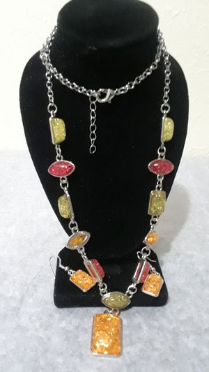 Sterling Silver Amber Crystal Necklace set for Sale in Tampa, FL