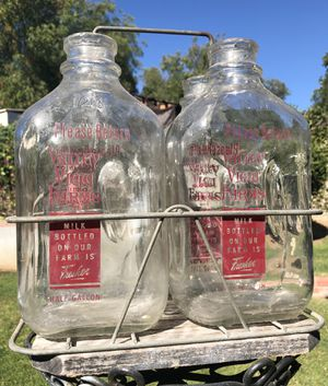 Vintage Half Gallon Glass Milk Bottles with Metal Carrier for Sale in Whittier, CA