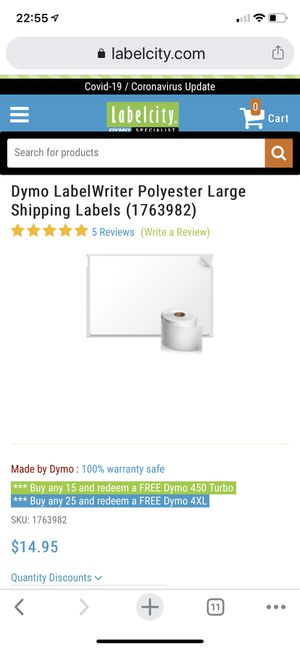 Dymo LabelWriter Polyester Large Shipping Labels (1763982) Brand New for Sale in Pittsburgh, PA