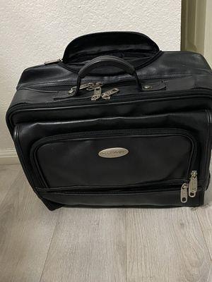 Samsonite, black leather, rolling luggage bag, tons of pockets, deep storage for books, laptops, notebooks, etc. for Sale in Scottsdale, AZ