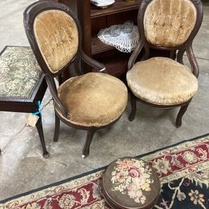 A Pair Of Velvet Antique Chairs With Front Wheels On The Legs. 19th Century Antique Must Have for Sale in Houston, TX