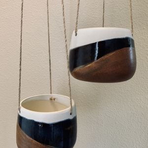 Unique handmade Hanging Ceramic Planter Blue Brown And White Plant Pot for Sale in Happy Valley, OR