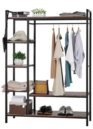 kealive Freestanding Closet Organizer Heavy Duty Clothing Rack with Shelves, Industrial Wood Wardrobe Garment Rack for Hanging Clothes and Storage (B for Sale in South El Monte, CA