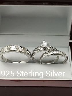 New with tag Solid 925 Sterling Silver HIS & HER WEDDING Ring trio Set size 9/10 or 11 and 7/8 or 9 $250 set OR BEST OFFER *FREE DELIVERY!!! 📦🚚 ** for Sale in Phoenix,  AZ