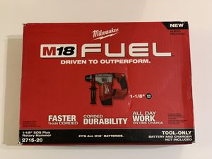 Milwaukee M18 FUEL 18-Volt Lithium-Ion Brushless Cordless 1-1/8 in. SDS-Plus Rotary Hammer 2715-20 for Sale in Garden Grove, CA