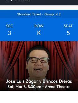 TICKETS Jose Luis Zagar Y Brincosdieras for Sale in Houston,  TX