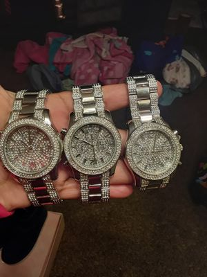 New womens quartz silver diamond watches $5 each all $15 for Sale in Suitland, MD