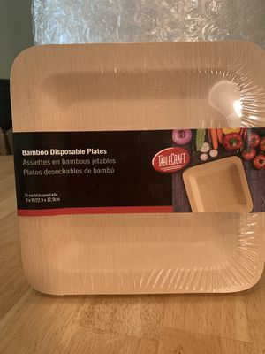 "Tablecraft Disposable Plate, 9"" x 9"", square, bamboo, natural finish (25 per pack) for Sale in Lake Worth, FL"