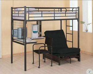 Black bunk work station loft bed for Sale in Philadelphia, PA