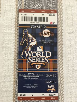 ⚾️ 2010 World Series Ticket Game 2 SF Giants ⚾️ for Sale in Clovis, CA