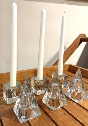 6 piece vintage glass triangles and squares set. 3 glass squares are taper candle holders. for Sale in Miami, FL