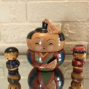 Antique 1950's Hand Painted Kokeshi Japanese Dolls (3) for Sale in Houston, TX